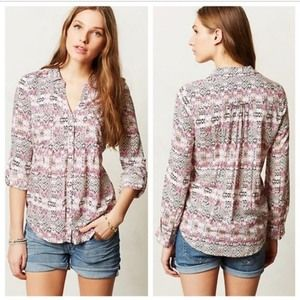 Anthropologie Maeve Large Top Islet Floral Buttons